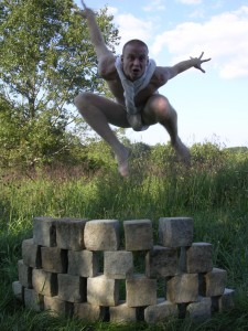 David Jumping Over Wall, &quot;Cairn&quot; photo by JBG
