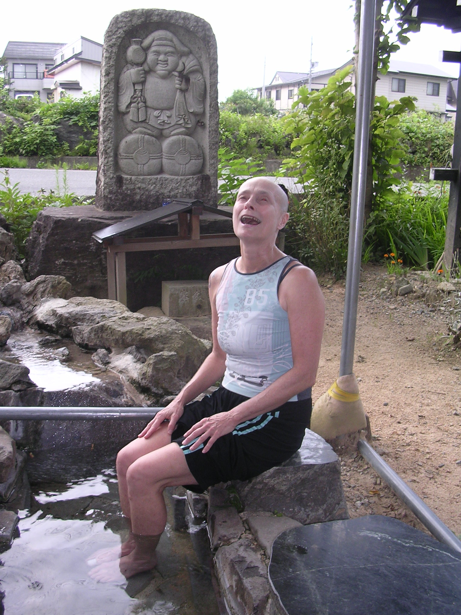 soaking my aching feet in the foot onsen